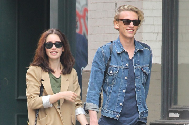 EXCLUSIVE: Lily Collins is taken shoe shopping in New York by her boyfriend Jamie Campbell Bower